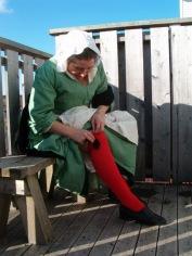tied garters,red & green